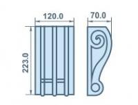 Размеры кронштейна 120х223